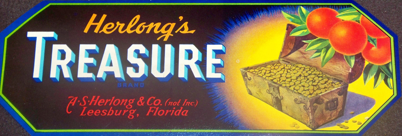 Rare! Herlong's Treasure Crate Label, 1950's