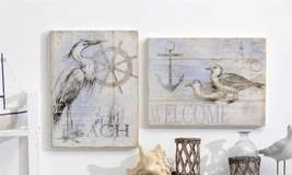 Set of 2 Nautical Beach Cottage Wall Plaques MDF NEW