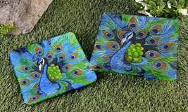 Set of 2 Peacock Square Plates Glass Bright Colorful 10 X 10 & 12 x12