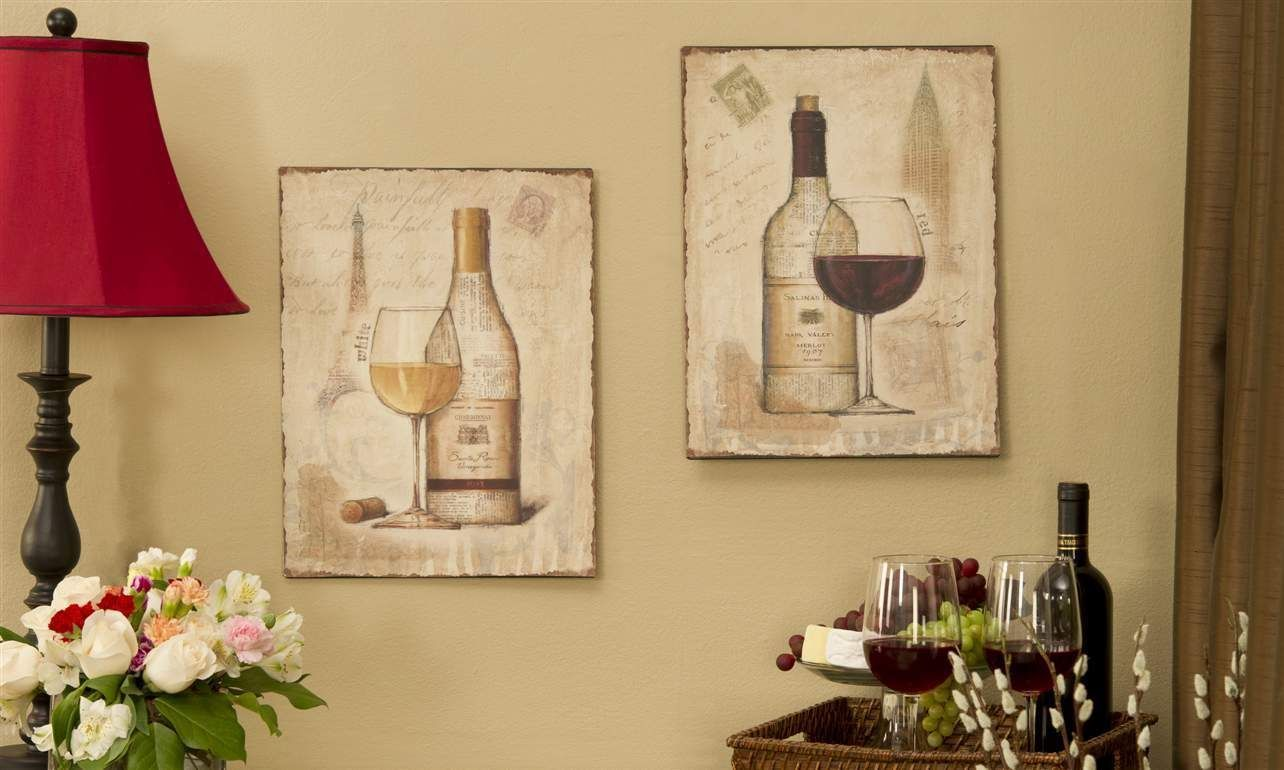 "Set of 2 -  Wine Wall Plaques Metal 12""  x 15"" Vintage Look"