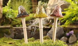 "Set of 3 -  12"" High Ceramic Mushroom Stakes 3 Different Colors NEW"