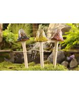 "Set of 3 -  12"" High Ceramic Mushroom Stakes 3 Different Colors NEW - $40.78"