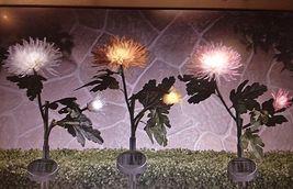 "Set of 3 - 22"" SOLAR POLYESTER CHRYSANTHEMUM GARDEN LIGHT STAKES image 2"