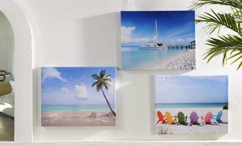 Set of 3 Beach Framed Stretched Canvas Prints Indoor / Outdoor UV Protection