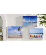Beach Framed Stretched Canvas Prints Set of 3 Indoor Outdoor UV Protecti... - $78.99