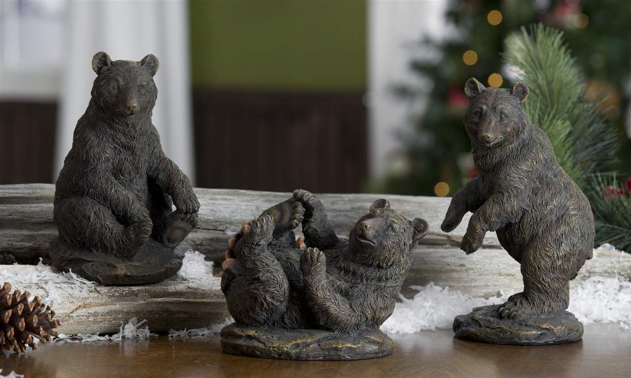 "Set of 3 Black Bear Figurines Table Mantle Decor Polystone 8"", 7"" & 5"" high"