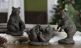 "Set of 3 Black Bear Figurines Table Mantle Decor Polystone 8"", 7"" & 5"" high NEW"