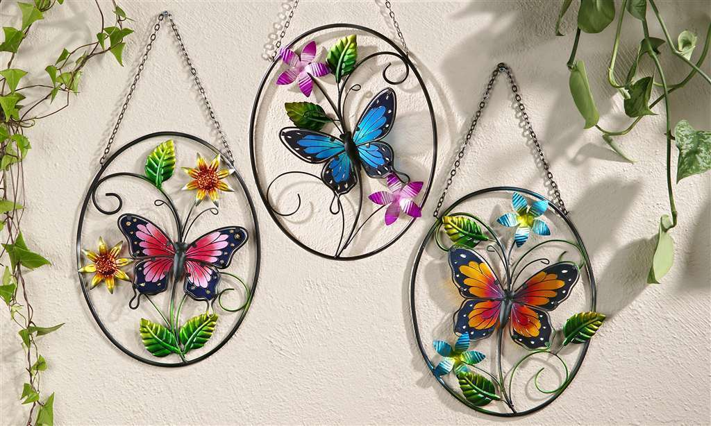 Set of 3 Colorful Butterfly Metal & Glass Hanging Wall Plaques w Hanging Chain