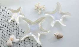 Set of 3 Glass Pearlized Starfish Plates Small, Med, Large NEW