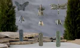 Set of 3 -Japanese Zen Wind Chimes -Dragonfly, Butterfly and Pagoda Polystone
