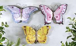 Set of 3 Pastel Colored Polystone Butterfly Wall Plaques