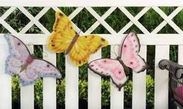 Set of 3 Pastel Colored Polystone Butterfly Wall Plaques image 2