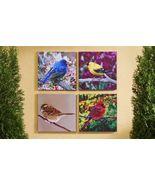 "Set of 4 -18""x 18"" Bird Stretched Canvas Prints-Cardinals & more Indoor/... - $98.99"