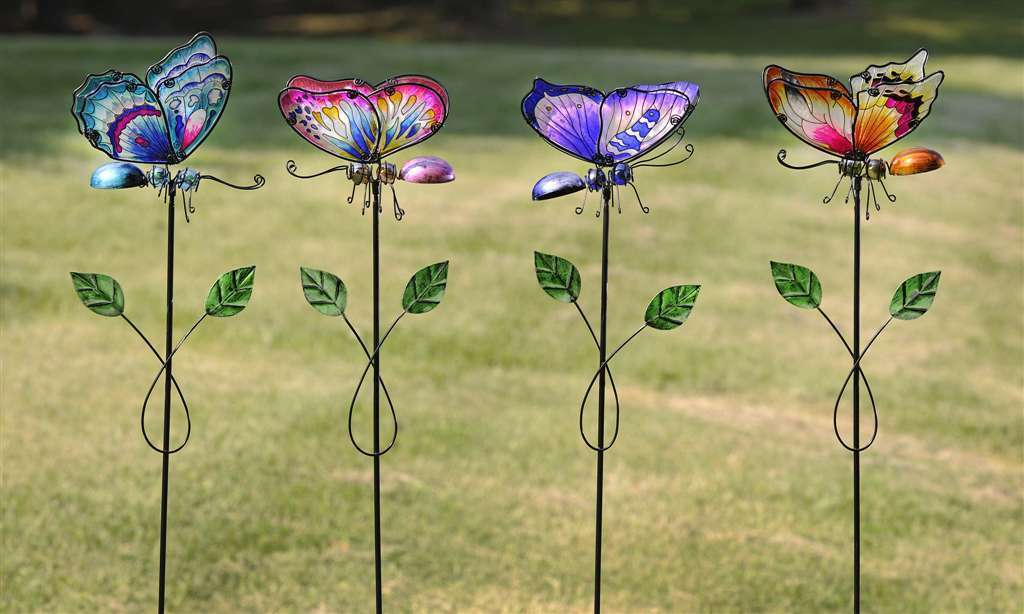 "Set of 4 - 48"" Stunning Butterfly Garden Stakes Metal & Glass NEW"