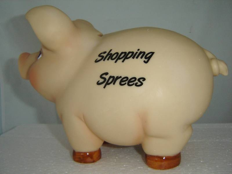 Shopping Sprees Money Piggy Bank Durable Polyresin NEW