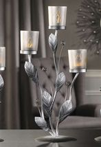 Silver Design Metal & Glass Candle Tealight Holder with 3 Glass Cup Holders