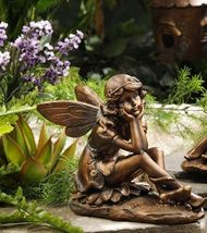 Sitting Garden Fairy Statue - Copper Look Polystone