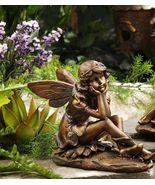 Sitting Garden Fairy Statue - Copper Look Polystone - $37.61