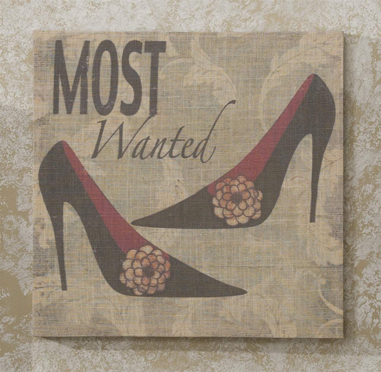 Stiletto Shoe Stretched Linen Print - 15.7 x 15.7 - 5 Designs