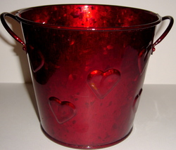 Red Painted Tin Pail w/ Hearts Design - $6.00