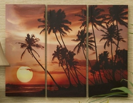 "Stretched Canvas Sunset Tropical Prints Set of 3 27"" x 35"" NEW"