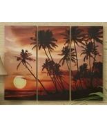 """Tropical Sunset Trio Stretched Canvas Prints  - Set of 3 - 27"""" L x 35"""" H - $49.49"""