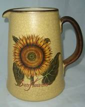 Sunflower Crackled Vintage look Ceramic Pitcher NEW