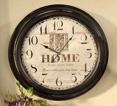 "Vintage Look Round Iron Wall Clock HOME as background w Glass Front  23"" x 4"""