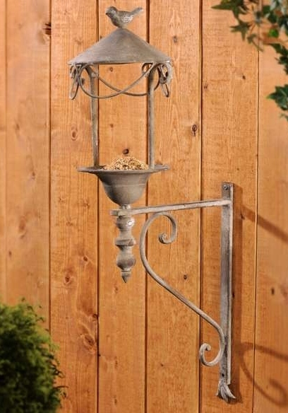 "Wall Mount Birdfeeder Rustic Look Metal 29"" High  NEW"