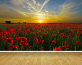 Sunset Poppy Field Poppies Backdrop Wall Art Mural Wall Paper Self AdhesiveVinyl - $43.11+