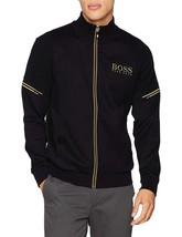 Hugo Boss Men's Zip Up Sweatshirt Cardigan Track Jacket Skaz 50333986 Black Gold