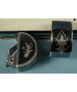 Vintage Sterling Niello Siam Clip Earrings, Unu... - $25.00