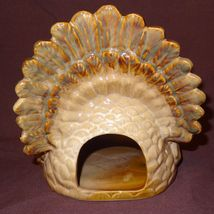 "Turkey Thanksgiving Tea Light Candle Holder 7"" Table Top Centerpiece Cream Color image 6"