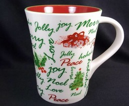 Starbucks Holiday 2007 coffee mug tapered red & green snowflakes Christm... - $9.70