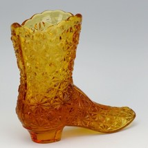 Vintage Fenton Art Glass Colonial Amber Daisy & Button Victorian Boot image 2