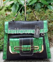 Guess Faux Croco Satchel Handbag Purse Green NWT SALE - $19.99