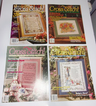 4 Vintage Cross Stitch Magazine Lot 3 4 7 39 Spring Baby Floral Silhouet... - $9.70