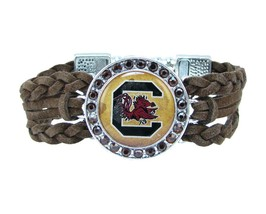 South Carolina Gamecocks Braided Brown Leather Crystal Bracelet Jewelry ... - $9.89