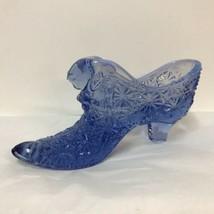 Fenton Signed Blue Glass Shoe Cat Head Puss N Boots Daisy Button White Ears Trim - $18.80