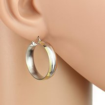 Sleek Polished Tri-Color Silver, Gold & Rose Tone Hoop Earrings- United Elegance - $13.99