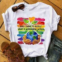 Earth Tree And I Think To Myself What A Wonderful T-Shirt White Cotton M... - £12.36 GBP+