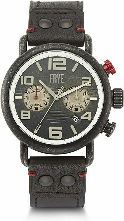 Primary image for BRAND NEW FRYE 37FR00003-02 BLACK LEATHER CHRONOGRAPH STAINLESS STEEL MENS WATCH