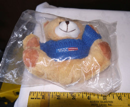 Small stuffed bear with patriotic sweater from donation for military fam... - $8.01