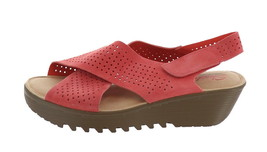 Skechers Perforated Suede Slingback Demi-Wedges Coral 6W NEW A349850 - $49.48