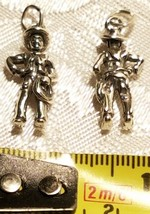Sterling Silver 20x10mm Cowboy with Lasso Hat Boot Rodeo Charm image 2