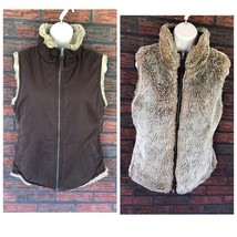 Gap Reversible Vest Small Chocolate Suede Beige Fur Full Zip Collar Soft... - $29.70