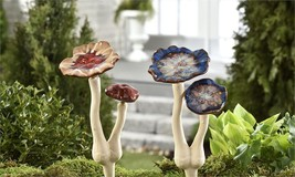 "Set of 2 10"" Ceramic Double Mushroom Toadstool Garden Stakes Single-Prong NEW"