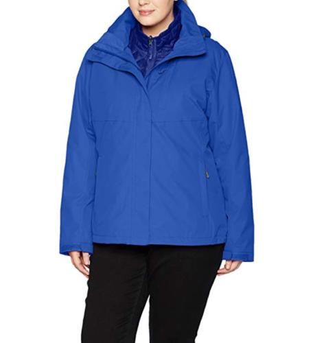 1X Plus White Sierra Women's 3-In-1 Trifecta Interchange Jacket Dazzle Blue
