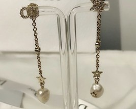 Authentic Christian Dior 2019 SHINY-D EARRINGS CD Crystal Pearl Dangle Drop Star image 10