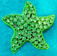 Antique Weiss Signed Green Starfish Rhinestones Brooch / Pin - $26.65